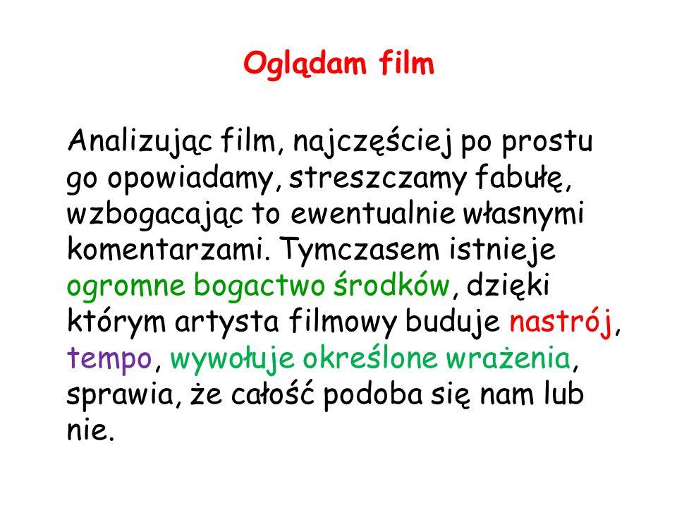Oglądam film Środki wyrazu związane z techniką kadr, ujęcie, sekwencja, plany filmowe, ruchy kamery, spojrzenie kamery, rodzaje montażu.