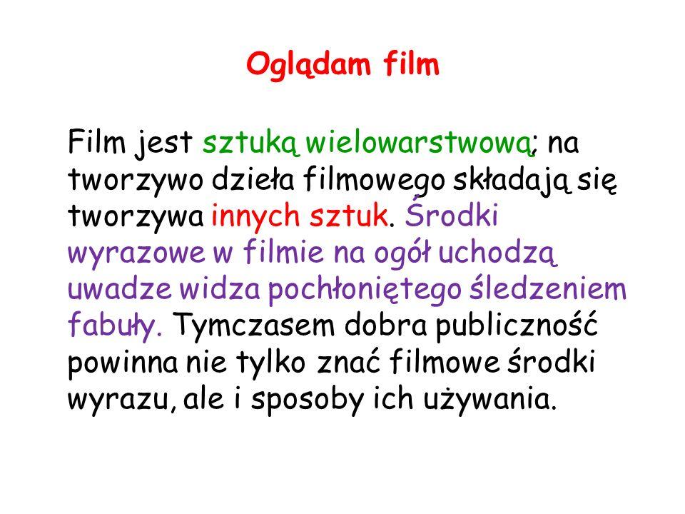 Oglądam film Film jest sztuką wielowarstwową; na tworzywo dzieła filmowego składają się tworzywa innych sztuk.