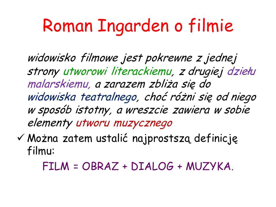 Roman Ingarden o filmie widowisko filmowe jest pokrewne z jednej strony utworowi literackiemu, z drugiej dziełu malarskiemu, a zarazem zbliża się do widowiska teatralnego, choć różni się od niego w sposób istotny, a wreszcie zawiera w sobie elementy utworu muzycznego Można zatem ustalić najprostszą definicję filmu: FILM = OBRAZ + DIALOG + MUZYKA.