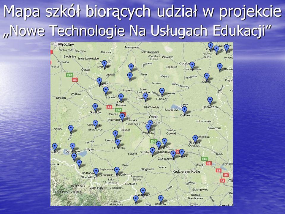 Mapa szkół biorących udział w projekcie Nowe Technologie Na Usługach Edukacji