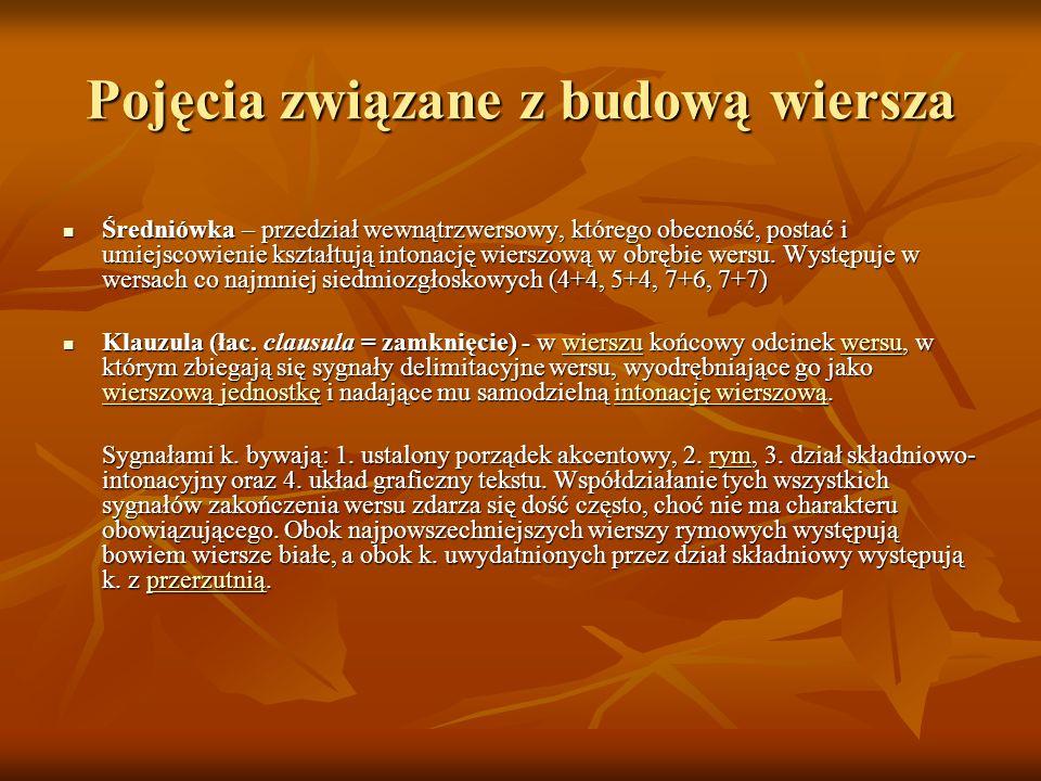 Pojęcia związane z budową wiersza Przerzutnia – występująca wtedy, gdy klauzula wersu wypada wewnątrz spoistej całostki zdaniowej, której zakończenie znajduje się na początku wersu następnego.