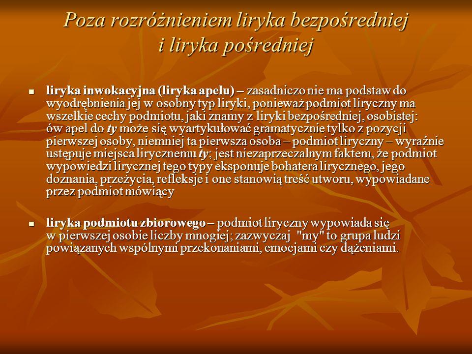 Poza rozróżnieniem liryka bezpośredniej i liryka pośredniej liryka inwokacyjna (liryka apelu) – zasadniczo nie ma podstaw do wyodrębnienia jej w osobn