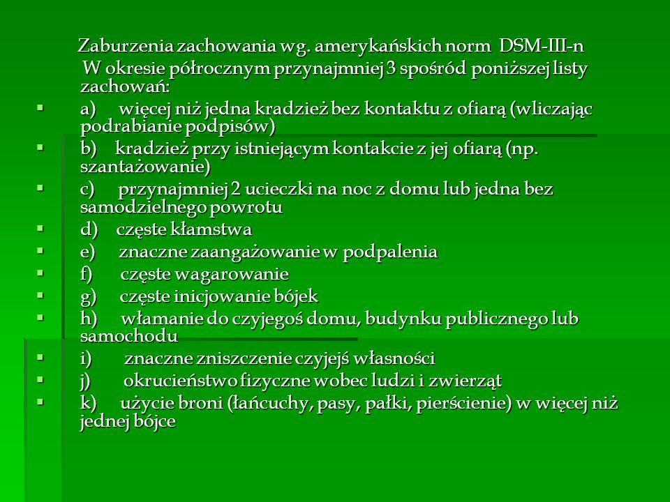Zaburzenia zachowania wg. amerykańskich norm DSM-III-n Zaburzenia zachowania wg. amerykańskich norm DSM-III-n W okresie półrocznym przynajmniej 3 spoś