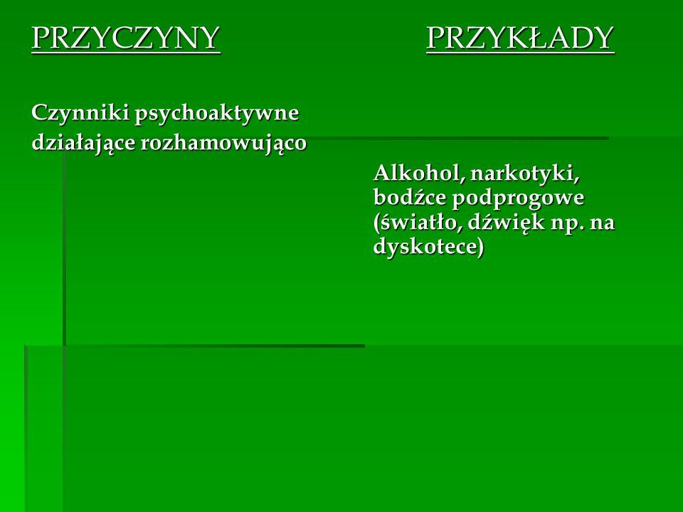 PRZYCZYNY PRZYKŁADY Czynniki psychoaktywne działające rozhamowująco Alkohol, narkotyki, bodźce podprogowe (światło, dźwięk np. na dyskotece)