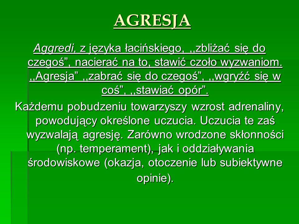 AGRESJA Aggredi, z języka łacińskiego,,,zbliżać się do czegoś, nacierać na to, stawić czoło wyzwaniom.,,Agresja,,zabrać się do czegoś,,,wgryźć się w coś,,,stawiać opór.