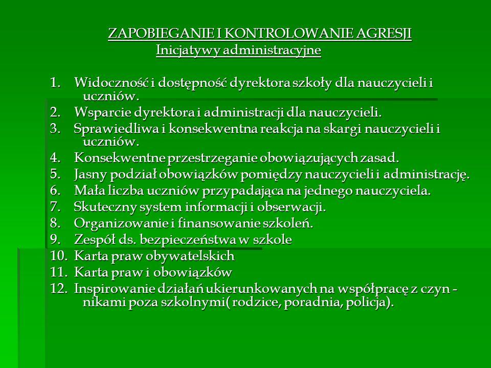 ZAPOBIEGANIE I KONTROLOWANIE AGRESJI Inicjatywy administracyjne Inicjatywy administracyjne 1.