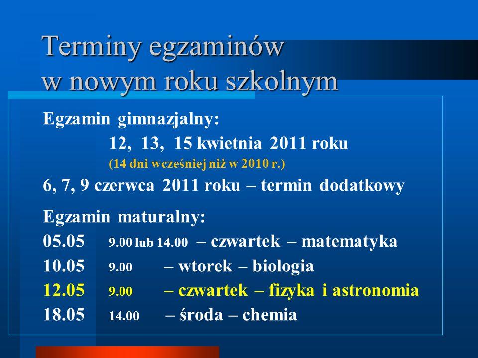 Terminy egzaminów w nowym roku szkolnym Egzamin gimnazjalny: 12, 13, 15 kwietnia 2011 roku (14 dni wcześniej niż w 2010 r.) 6, 7, 9 czerwca 2011 roku – termin dodatkowy Egzamin maturalny: 05.05 9.00 lub 14.00 – czwartek – matematyka 10.05 9.00 – wtorek – biologia 12.05 9.00 – czwartek – fizyka i astronomia 18.05 14.00 – środa – chemia