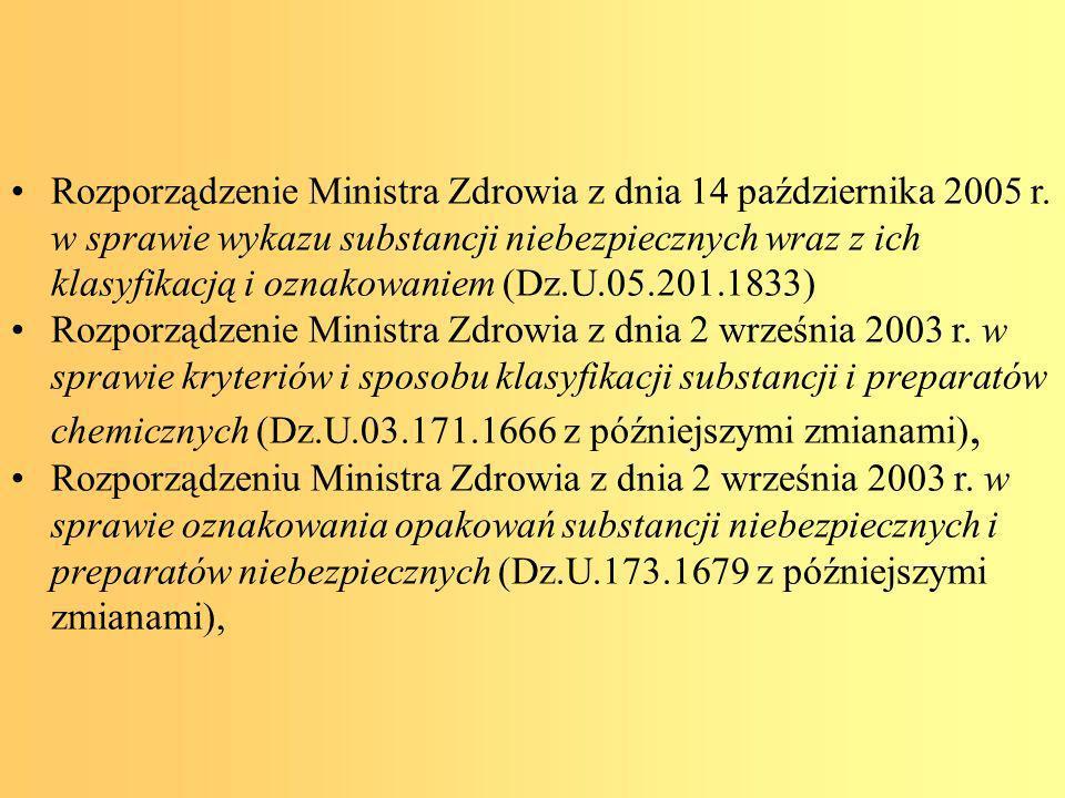 Według Rozporządzenia sprawie ogólnych przepisów Bezpieczeństwa i higieny pracy (Część D.