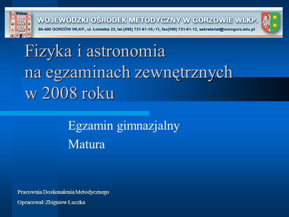 Fizyka i astronomia na egzaminach zewnętrznych w 2008 roku Egzamin gimnazjalny Matura Pracownia Doskonalenia Metodycznego Opracował: Zbigniew Łuczka
