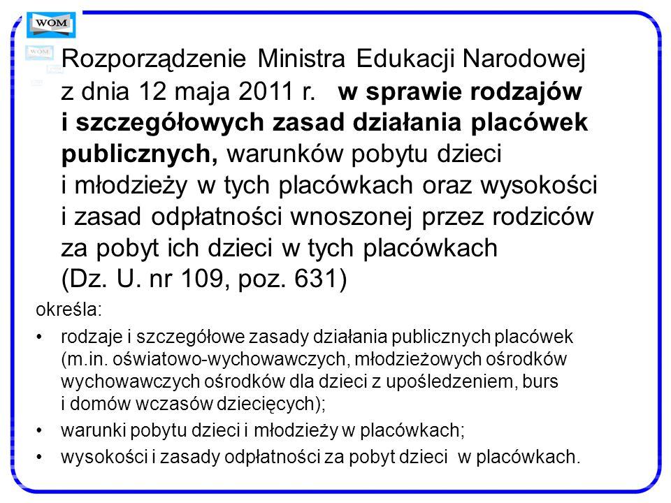 Rozporządzenie Ministra Edukacji Narodowej z dnia 12 maja 2011 r. w sprawie rodzajów i szczegółowych zasad działania placówek publicznych, warunków po