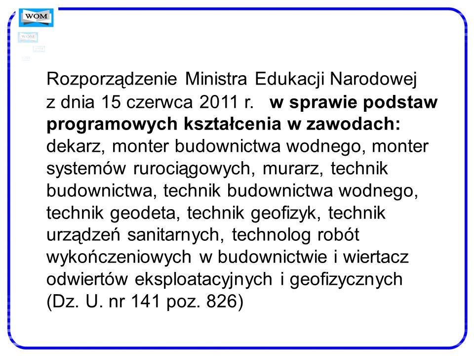 Rozporządzenie Ministra Edukacji Narodowej z dnia 15 czerwca 2011 r. w sprawie podstaw programowych kształcenia w zawodach: dekarz, monter budownictwa