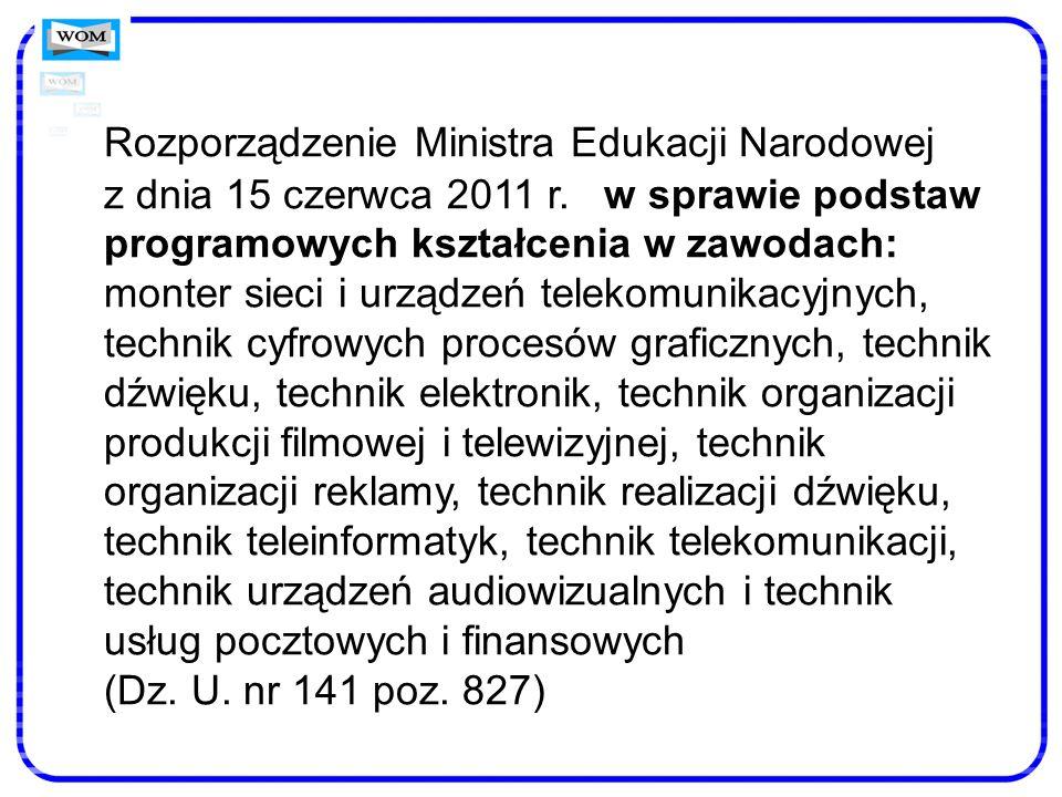Rozporządzenie Ministra Edukacji Narodowej z dnia 15 czerwca 2011 r. w sprawie podstaw programowych kształcenia w zawodach: monter sieci i urządzeń te