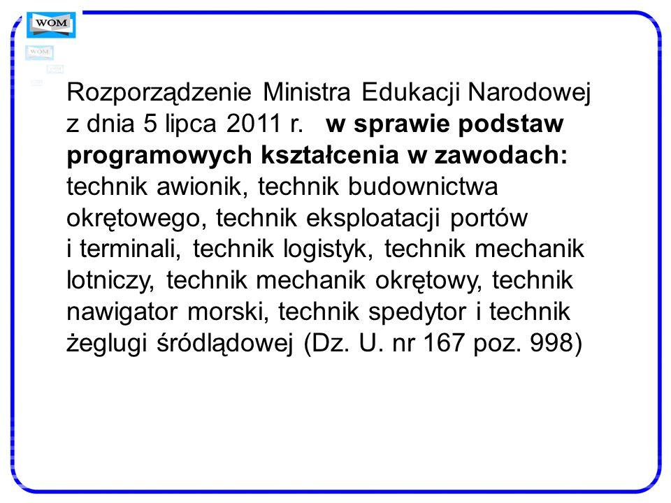 Rozporządzenie Ministra Edukacji Narodowej z dnia 5 lipca 2011 r. w sprawie podstaw programowych kształcenia w zawodach: technik awionik, technik budo