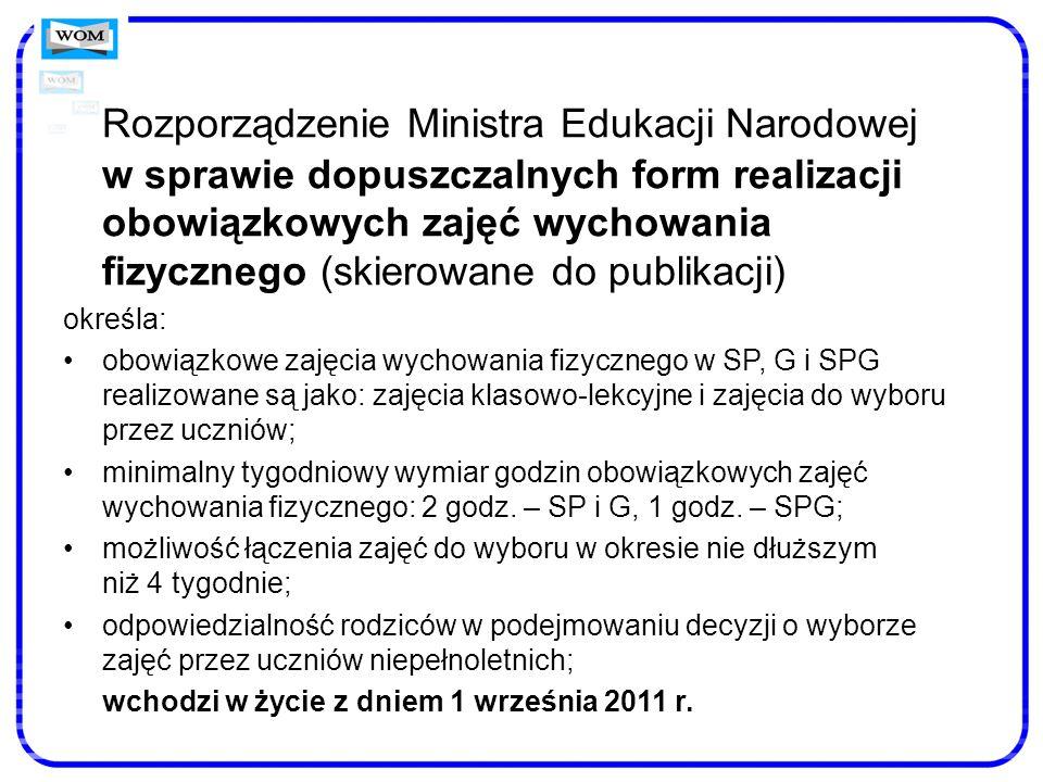 Rozporządzenie Ministra Edukacji Narodowej w sprawie dopuszczalnych form realizacji obowiązkowych zajęć wychowania fizycznego (skierowane do publikacj