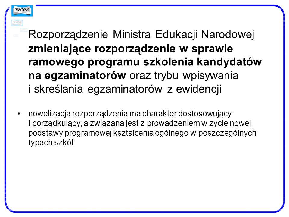 Rozporządzenie Ministra Edukacji Narodowej zmieniające rozporządzenie w sprawie ramowego programu szkolenia kandydatów na egzaminatorów oraz trybu wpi