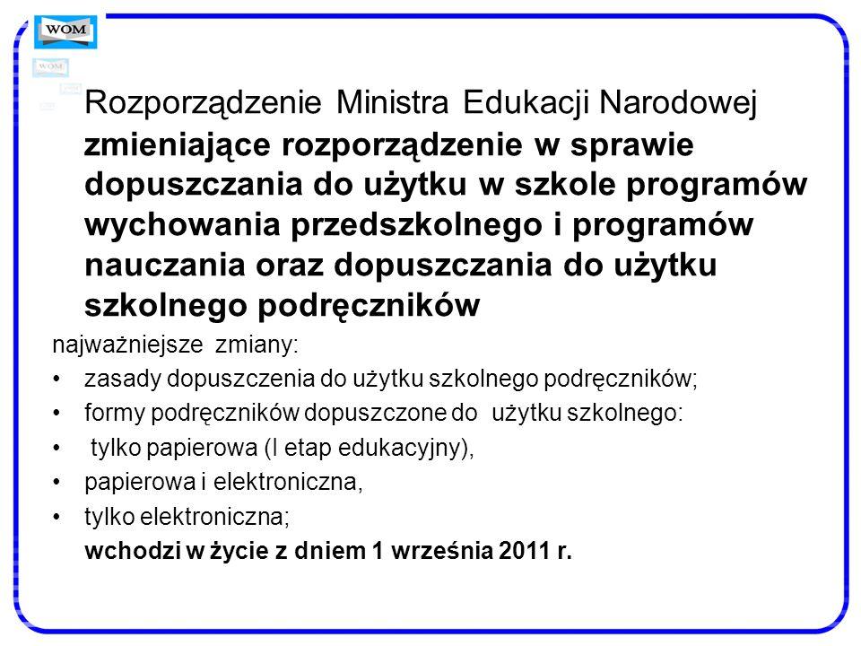 Rozporządzenie Ministra Edukacji Narodowej zmieniające rozporządzenie w sprawie dopuszczania do użytku w szkole programów wychowania przedszkolnego i
