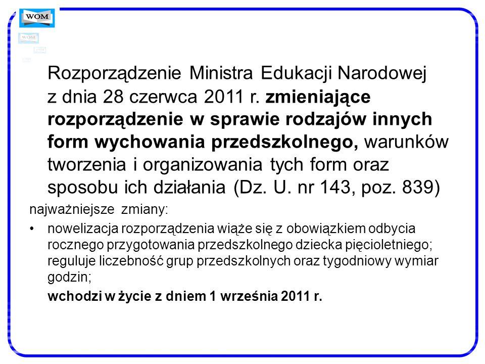 Rozporządzenie Ministra Edukacji Narodowej z dnia 28 czerwca 2011 r. zmieniające rozporządzenie w sprawie rodzajów innych form wychowania przedszkolne