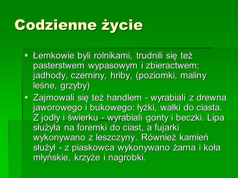Codzienne życie Łemkowie byli rolnikami, trudnili się też pasterstwem wypasowym i zbieractwem; jadhody, czerniny, hriby, (poziomki, maliny leśne, grzy