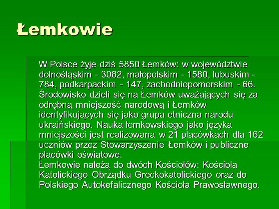 Łemkowie W Polsce żyje dziś 5850 Łemków: w województwie dolnośląskim - 3082, małopolskim - 1580, lubuskim - 784, podkarpackim - 147, zachodniopomorski