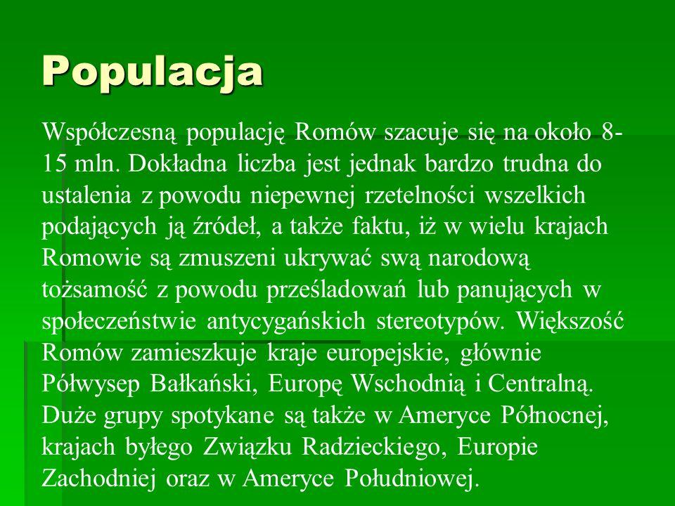 Populacja Współczesną populację Romów szacuje się na około 8- 15 mln. Dokładna liczba jest jednak bardzo trudna do ustalenia z powodu niepewnej rzetel