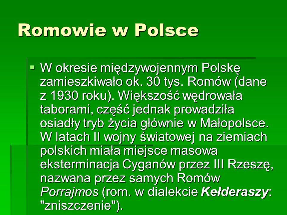 Romowie w Polsce W okresie międzywojennym Polskę zamieszkiwało ok. 30 tys. Romów (dane z 1930 roku). Większość wędrowała taborami, część jednak prowad