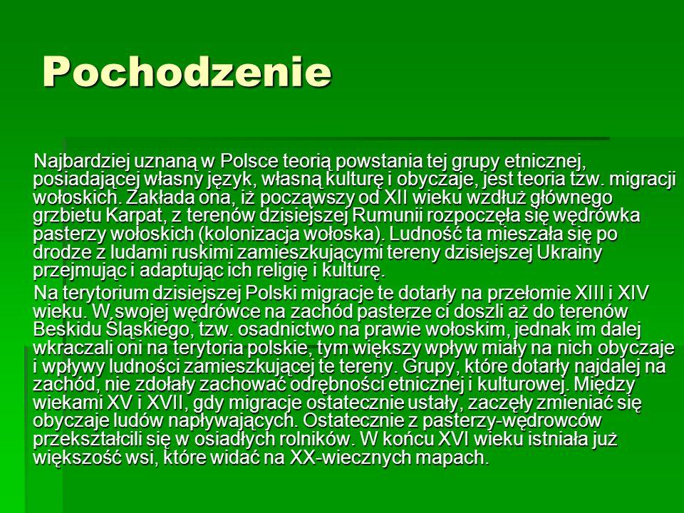 Pochodzenie Najbardziej uznaną w Polsce teorią powstania tej grupy etnicznej, posiadającej własny język, własną kulturę i obyczaje, jest teoria tzw. m