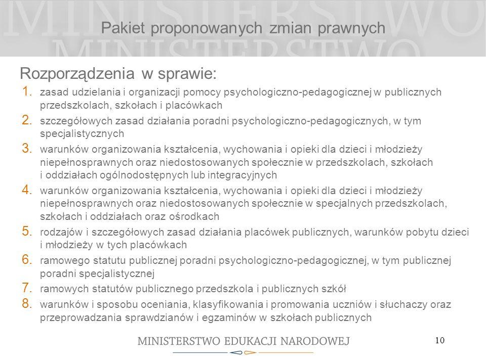 10 Pakiet proponowanych zmian prawnych Rozporządzenia w sprawie: 1. zasad udzielania i organizacji pomocy psychologiczno-pedagogicznej w publicznych p