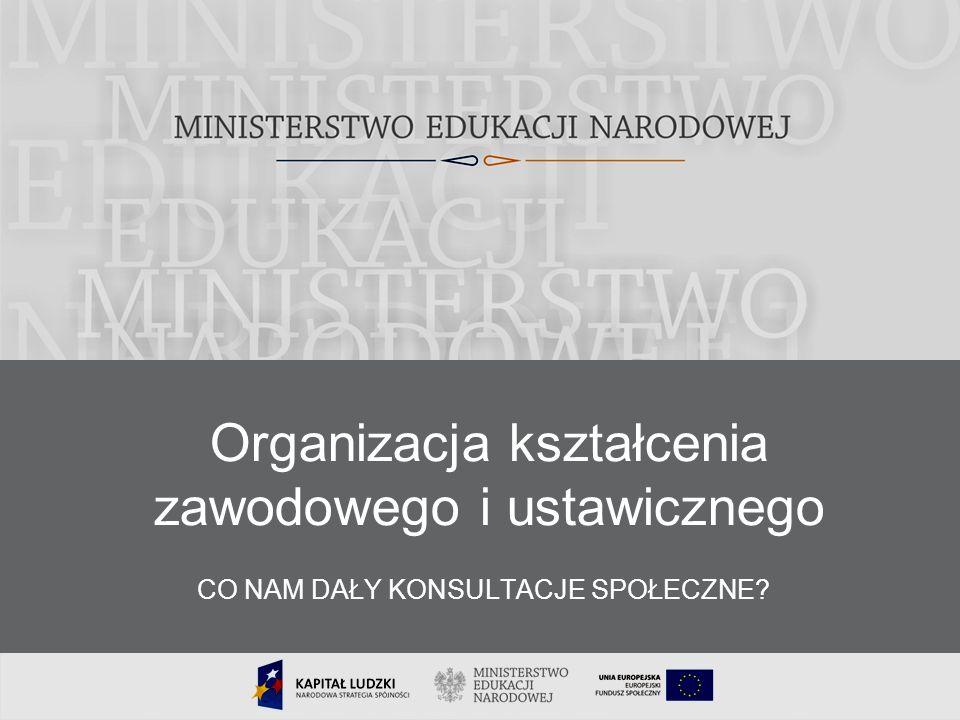 18 Organizacja kształcenia zawodowego i ustawicznego CO NAM DAŁY KONSULTACJE SPOŁECZNE?
