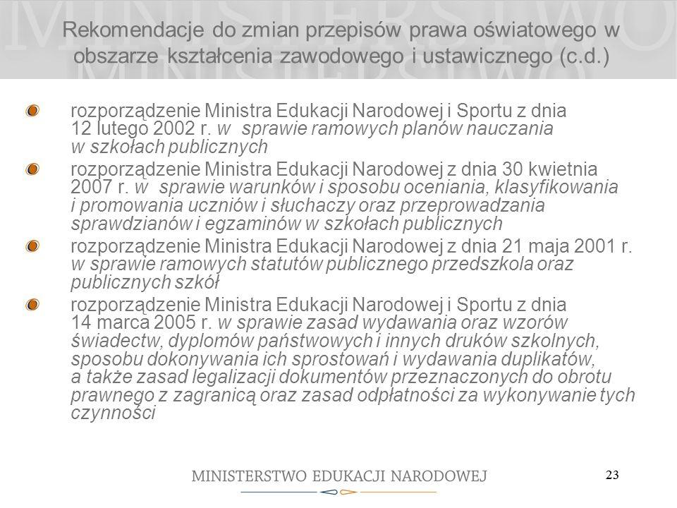 23 rozporządzenie Ministra Edukacji Narodowej i Sportu z dnia 12 lutego 2002 r. w sprawie ramowych planów nauczania w szkołach publicznych rozporządze