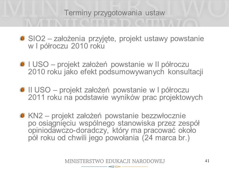 41 Terminy przygotowania ustaw SIO2 – założenia przyjęte, projekt ustawy powstanie w I półroczu 2010 roku I USO – projekt założeń powstanie w II półro