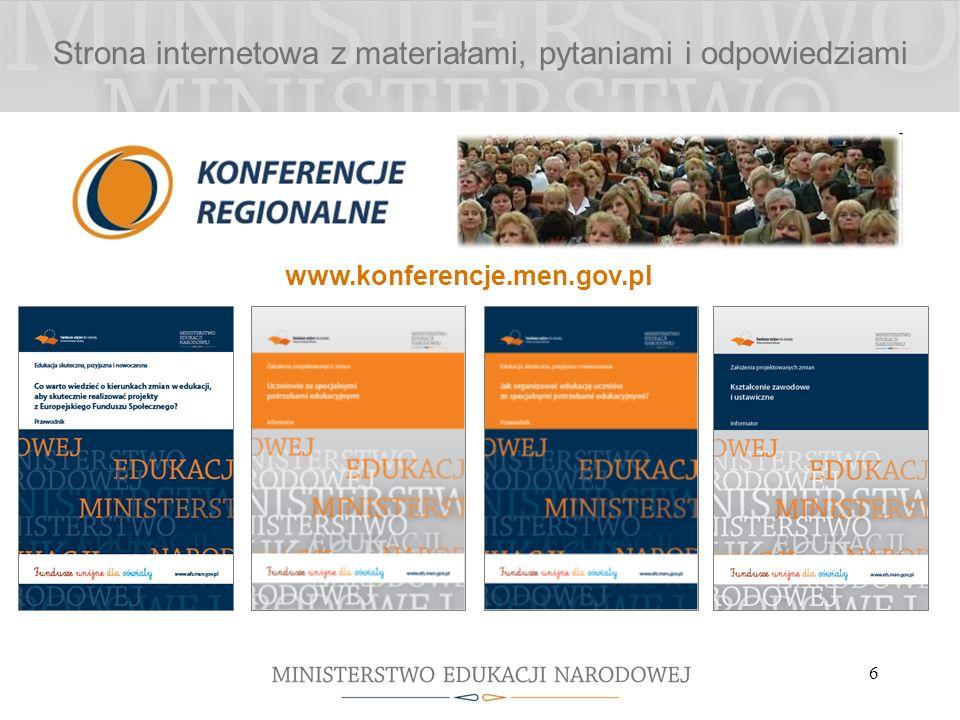 6 Strona internetowa z materiałami, pytaniami i odpowiedziami www.konferencje.men.gov.pl