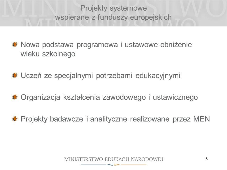 88 Projekty systemowe wspierane z funduszy europejskich Nowa podstawa programowa i ustawowe obniżenie wieku szkolnego Uczeń ze specjalnymi potrzebami