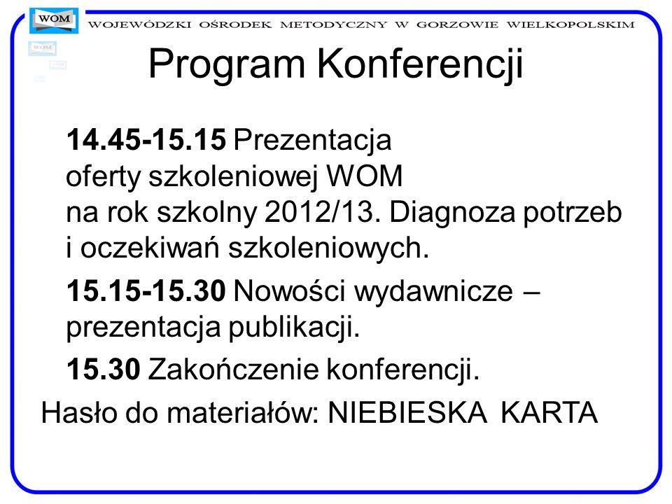 Program Konferencji 14.45-15.15 Prezentacja oferty szkoleniowej WOM na rok szkolny 2012/13. Diagnoza potrzeb i oczekiwań szkoleniowych. 15.15-15.30 No