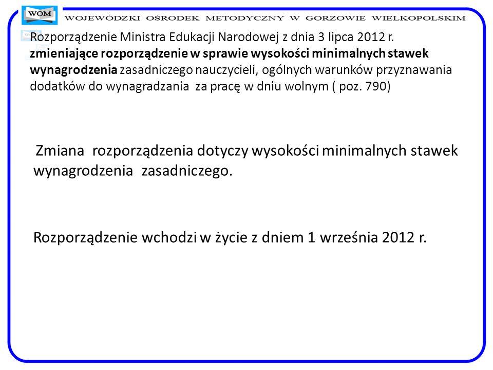 Rozporządzenie Ministra Edukacji Narodowej z dnia 3 lipca 2012 r. zmieniające rozporządzenie w sprawie wysokości minimalnych stawek wynagrodzenia zasa