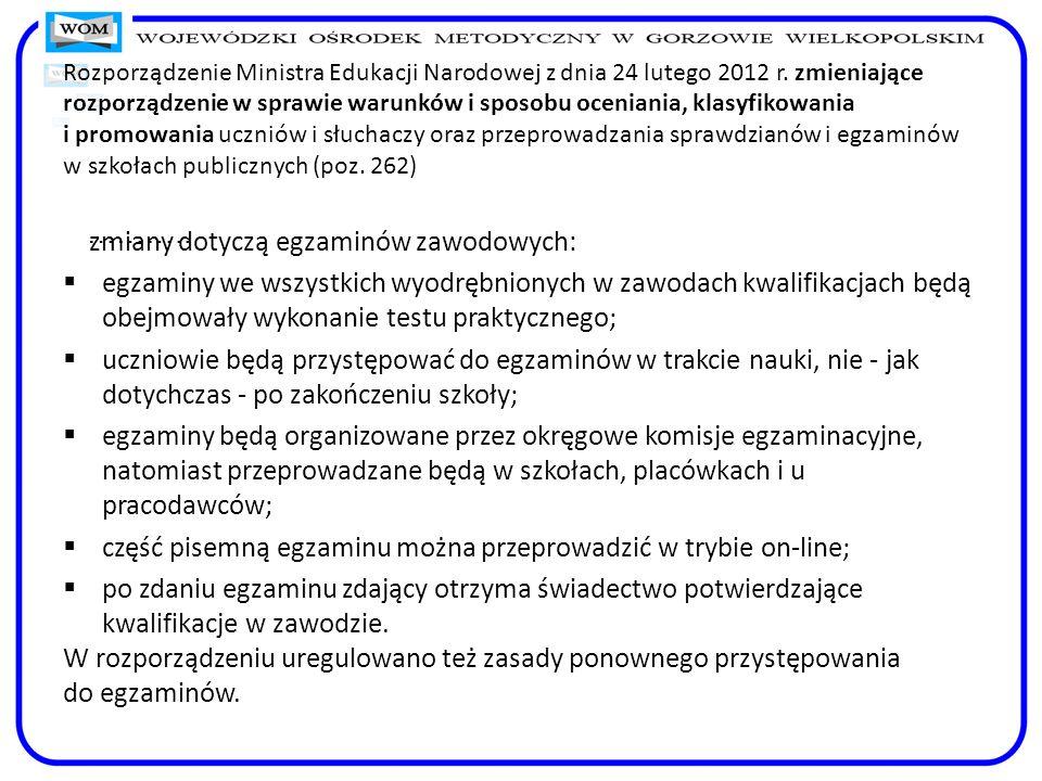 Rozporządzenie Ministra Edukacji Narodowej z dnia 24 lutego 2012 r. zmieniające rozporządzenie w sprawie warunków i sposobu oceniania, klasyfikowania