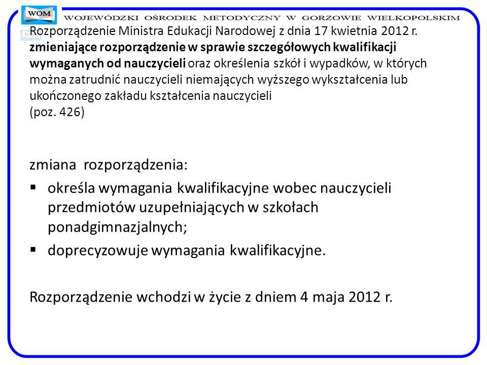 Rozporządzenie Ministra Edukacji Narodowej z dnia 17 kwietnia 2012 r. zmieniające rozporządzenie w sprawie szczegółowych kwalifikacji wymaganych od na