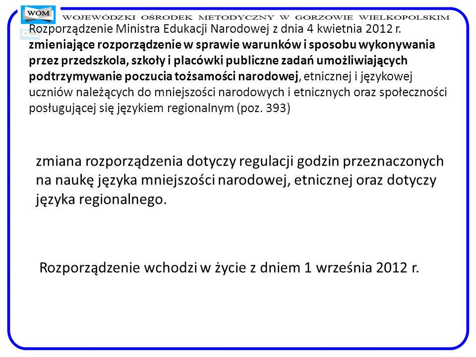 Rozporządzenie Ministra Edukacji Narodowej z dnia 4 kwietnia 2012 r. zmieniające rozporządzenie w sprawie warunków i sposobu wykonywania przez przedsz