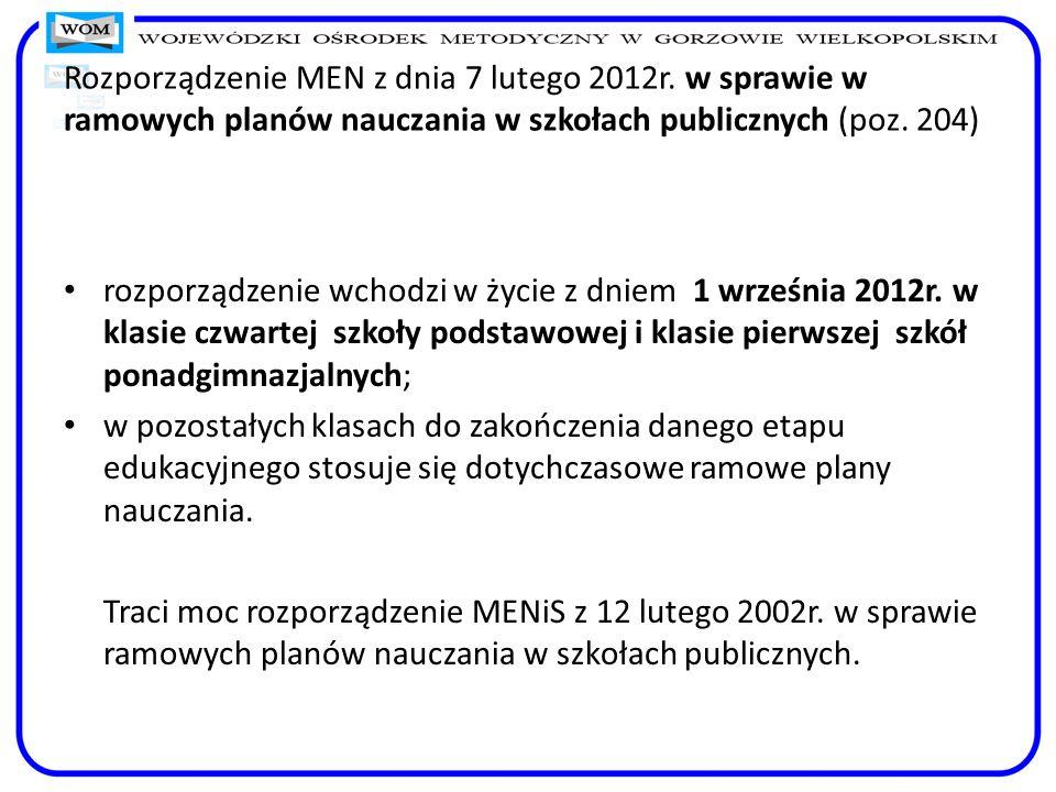 Rozporządzenie MEN z dnia 7 lutego 2012r. w sprawie w ramowych planów nauczania w szkołach publicznych (poz. 204) rozporządzenie wchodzi w życie z dni