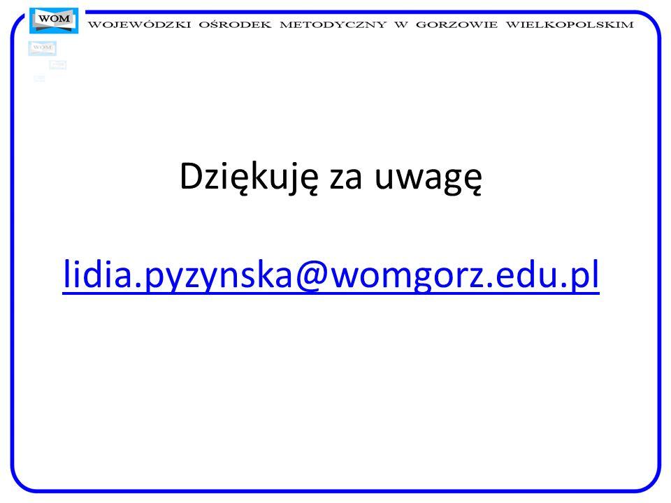 Dziękuję za uwagę lidia.pyzynska@womgorz.edu.pl lidia.pyzynska@womgorz.edu.pl