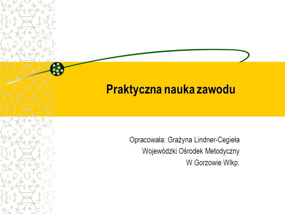 Praktyczna nauka zawodu Opracowała: Grażyna Lindner-Cegieła Wojewódzki Ośrodek Metodyczny W Gorzowie Wlkp.