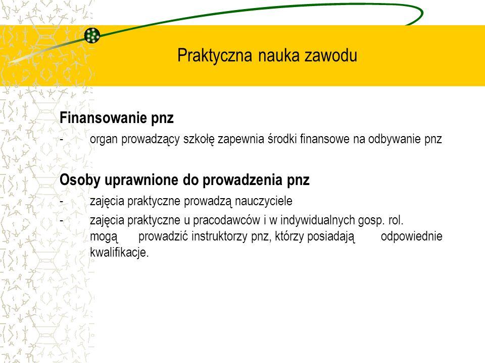 Praktyczna nauka zawodu Finansowanie pnz - organ prowadzący szkołę zapewnia środki finansowe na odbywanie pnz Osoby uprawnione do prowadzenia pnz - za