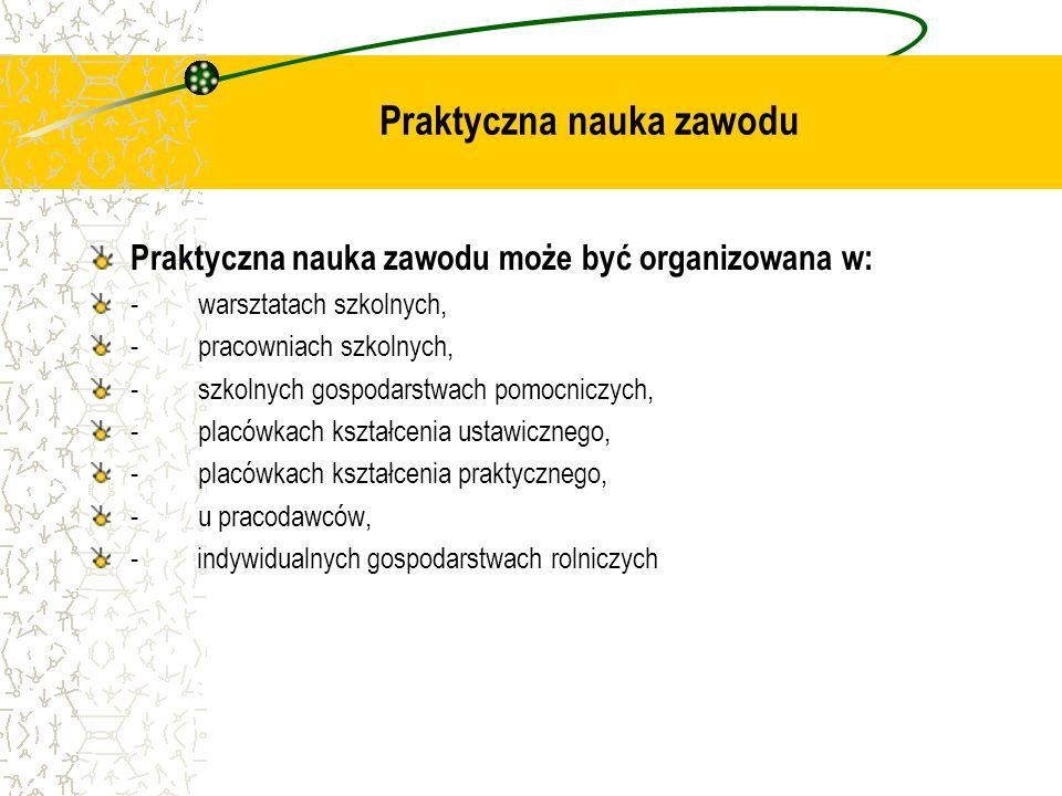 Praktyczna nauka zawodu Praktyczna nauka zawodu może być organizowana w: - warsztatach szkolnych, - pracowniach szkolnych, - szkolnych gospodarstwach