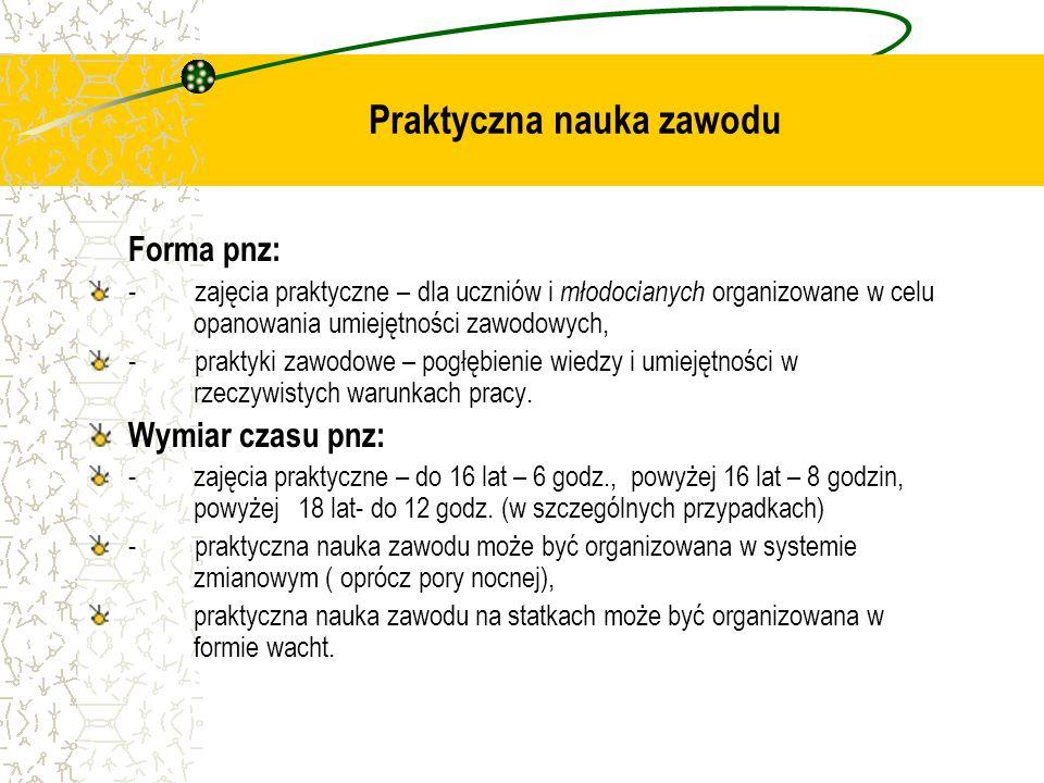 Praktyczna nauka zawodu Forma pnz: - zajęcia praktyczne – dla uczniów i młodocianych organizowane w celu opanowania umiejętności zawodowych, - praktyk