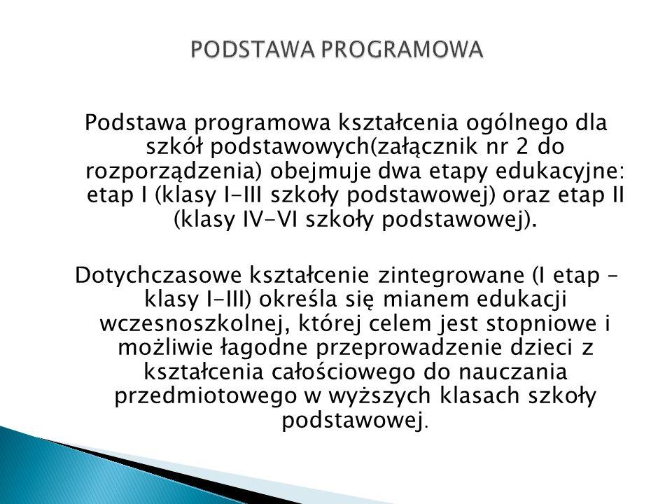 Podstawa programowa kształcenia ogólnego dla szkół podstawowych(załącznik nr 2 do rozporządzenia) obejmuje dwa etapy edukacyjne: etap I (klasy I-III s