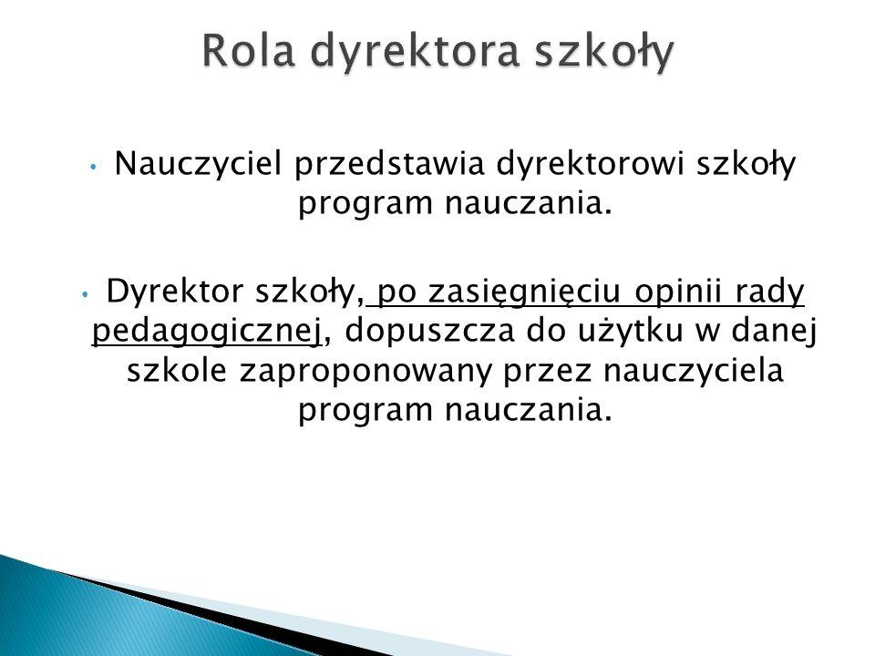 Program nauczania dopuszcza do użytku w szkole dyrektor szkoły, na wniosek nauczyciela lub nauczycieli.