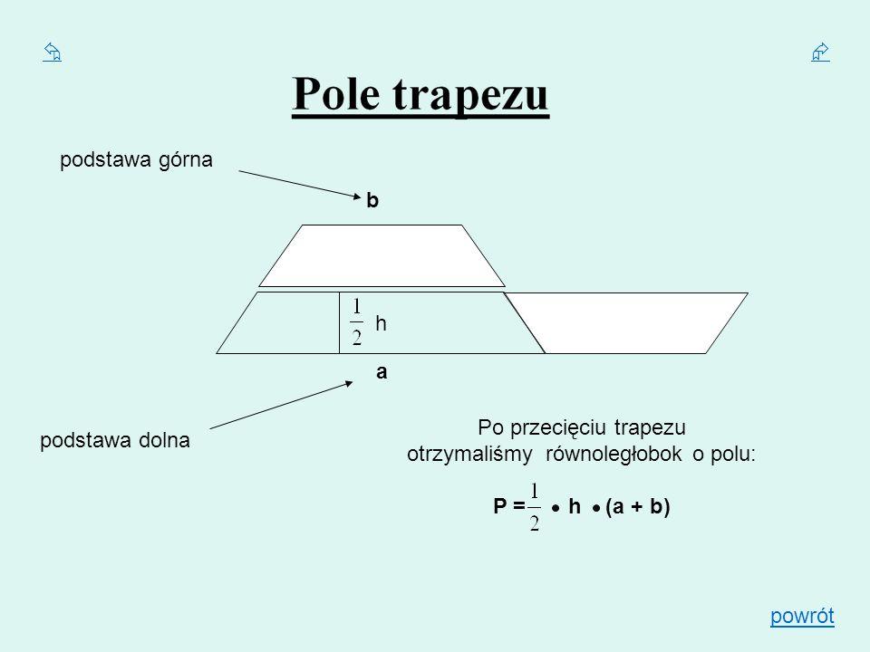 h a b podstawa górna podstawa dolna Po przecięciu trapezu otrzymaliśmy równoległobok o polu: P = h (a + b) powrót