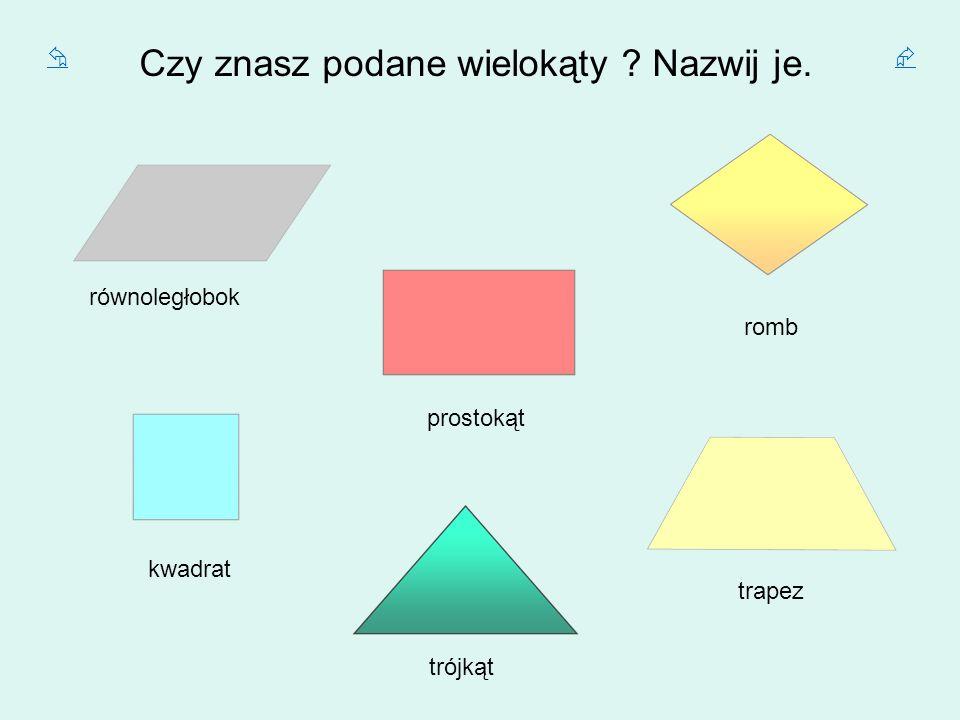 Czy znasz podane wielokąty ? Nazwij je. równoległobok prostokąt kwadrat trójkąt trapez romb
