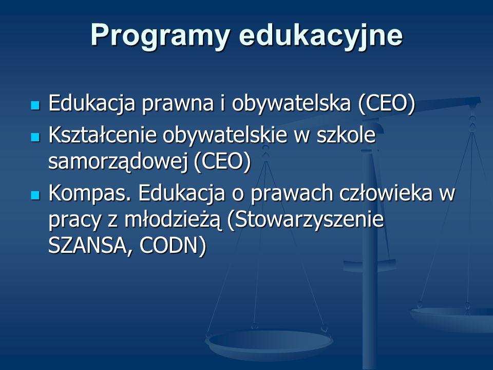 Programy edukacyjne Edukacja prawna i obywatelska (CEO) Edukacja prawna i obywatelska (CEO) Kształcenie obywatelskie w szkole samorządowej (CEO) Kszta
