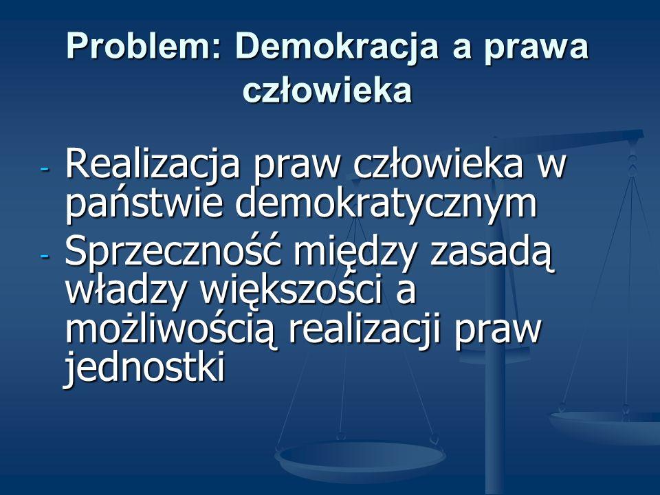 Problem: Demokracja a prawa człowieka - Realizacja praw człowieka w państwie demokratycznym - Sprzeczność między zasadą władzy większości a możliwości