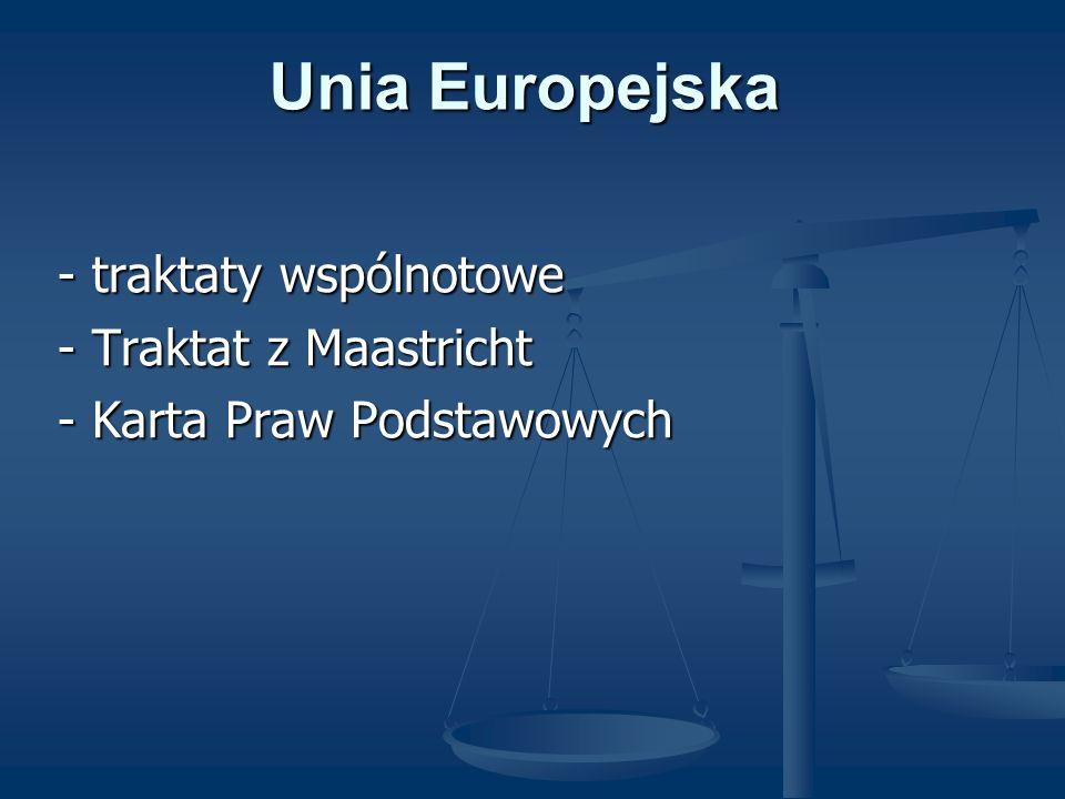 Unia Europejska - traktaty wspólnotowe - traktaty wspólnotowe - Traktat z Maastricht - Traktat z Maastricht - Karta Praw Podstawowych - Karta Praw Pod